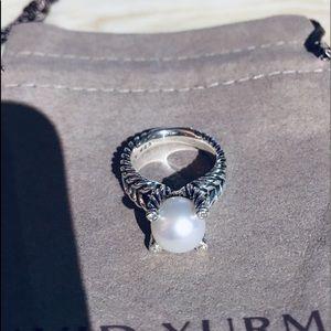 David Yurman Cable Pearl Diamond Ring Size 7